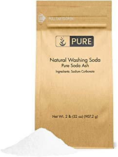Natural Washing Soda (2 lb.) by Pure Organic Ingredients, Also Called Soda Ash or Sodium Carbonate, Eco-Friendly Packaging, Multi-Purpose Cleaner, Water Softener, Stain-Remover