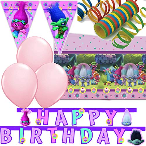 Procos/Carpeta 33-TLG. Decoratieset * Trolls * met vlaggetjesketting + tafelkleed + slinger en nog veel meer.   Kinderverjaardag, kinderverjaardag, party, motto DreamWorks Poppy Branch