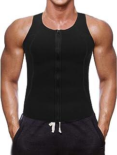 Chaleco Deportivo para Hombres Faja Reductora Sauna Camiseta Adelgazante Térmica Compresión Muscular Vest para Quemar Grasa Sudoración Gimnasio con Cremallera