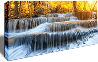 Home Decor Canvas Print Gold Waterfall Wall Art Large Forest Pictures Canvas Artwork Waterfall in Yellow Autumn Landscape Gallery Wrapped & Framed Décor Ready to Hang 20