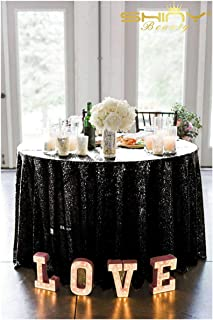 ShinyBeauty 72in Round Sequin Tablecloth/Wedding Beautiful Sequin Table Cloth/Overlay/Cover (Black)
