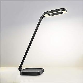 مصباح مكتب LED بحلقة مع 3 أنماط إضاءة وقابلة للتعتيم، مصباح دراسة مع منفذ شحن USB مصباح مكتب 8 وات، تحكم باللمس ، أسود