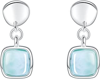 Larimar Drop Dangle Earrings 14K White Gold Plated Sterling Silver Jewelry Natural Genuine Handmade Gemstone Earrings for Women and Girl Gift for Her