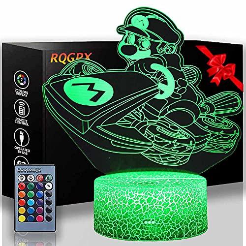 Luz nocturna de animales de madera 3D Mario A 16 colores que cambian la lámpara de noche con mando a distancia, regalo de cumpleaños para niños y adultos