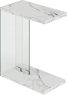 Convenience Concepts SoHo C End Table, White Faux Marble