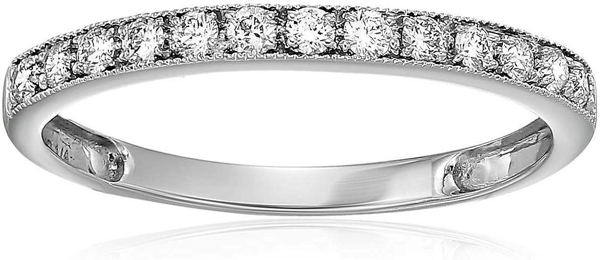 Vir Jewels 1/4 cttw Diamond Wedding Band with Milgrain 14K White Gold Prong Set