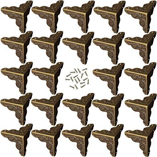 YQ 24 Pezzi Protezioni Angolari in Bronzo,Stile Antico in Lega, Accessori in Legno