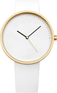 Abstrait LA | Crescent Minimal 42mm Stainless Steel | Quick Release Genuine Leather Japanese Quartz Watch