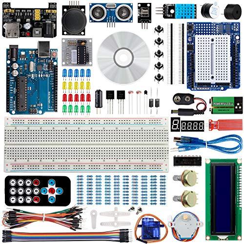 Bruphny Ultimate Starter Kit für Arduino Projekt mit Tutorial, R3 Mikrocontroller und viel Elektronik Zubehöre Kompatibel mit Arduino