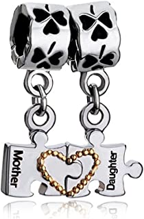 Q&Locket Mother Daughter Charms Heart Love Dangle Puzzle Bead For Bracelet