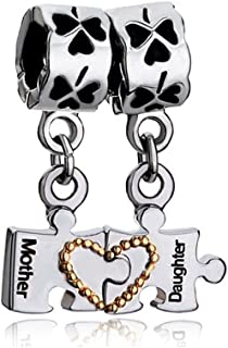 Love Mother Daughter Heart Puzzle Piece Autism Awareness Charms Bead For Bracelet