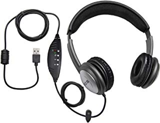 ECS WordSlinger USB Overhead Transcription Headset with Leatherette Cushioning