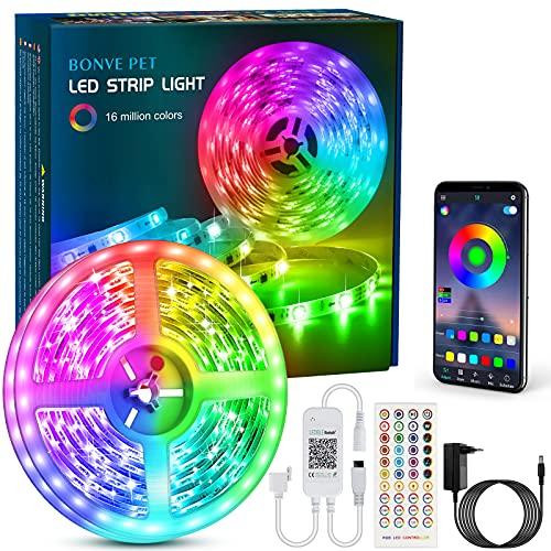 Bonve Pet LED Strip, Bluetooth RGB LED Streifen, Farbwechsel LED Lichterkette 6M mit Steuerbar via App, 16 Mio. Farben, Fernbedienung, Sync mit Musik, LED Band für Schlafzimmer TV Zuhause Schrankdek