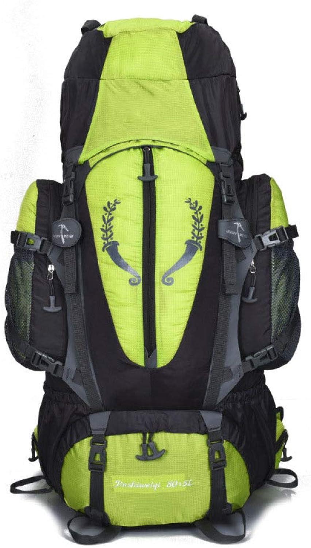 KXLK Wanderrucksack,80L + 5L Trekkingrucksack Für Damen Und Herren Wasserdicht Mit Rahmen Hüftgürteltasche,Grün