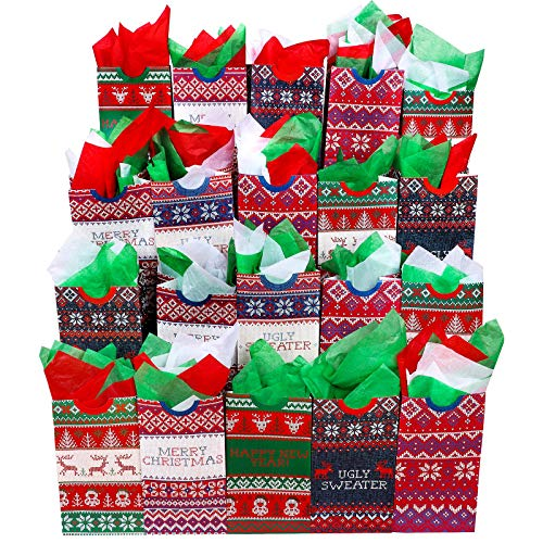 Aneco 30 Pieces Ugly Sweater Christmas Paper Bags Holiday Grocery Kraft Paper Bags Flat Bottom Xmas Gift Bags with 60 Sheets Christmas Tissue Paper