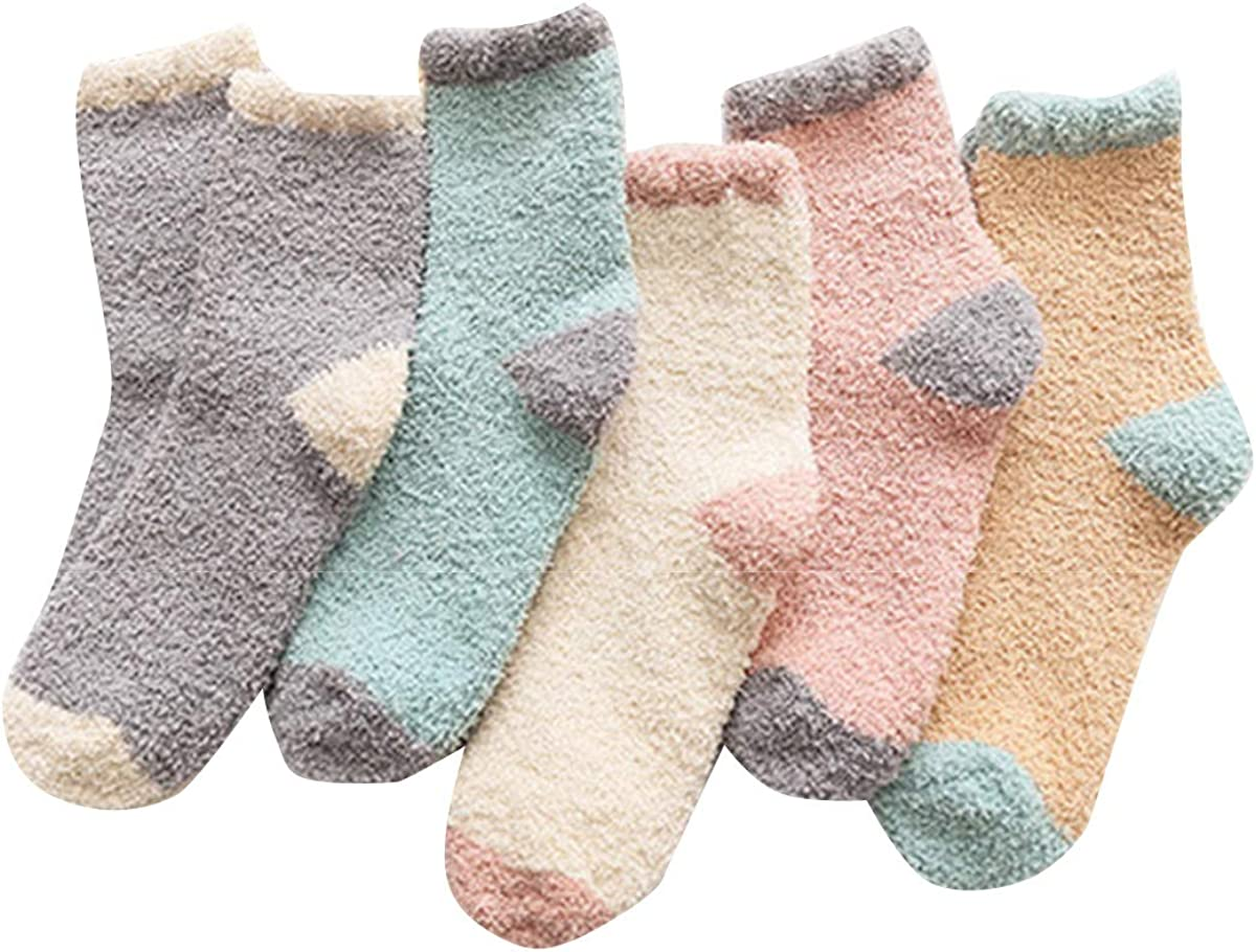 NCONCO 5 Pairs Women Fuzzy Socks Winter Thicked Slipper Socks Warm Fluffy Fleece Stocking