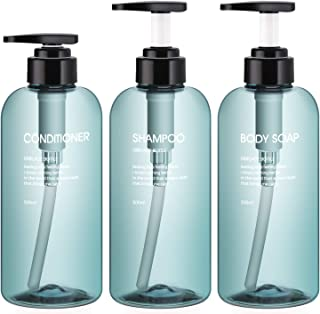 3pcs Shower Bottles, Segbeauty 16.9oz/500ml Liquid Soap Dispenser for Bathroom Refillable Plastic Pump Bottles for Body So...