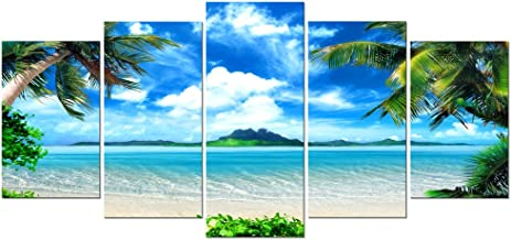 Pyradecor Modern 5 Panels Blue Sea Beach Pictures Paintings on Canvas Wall Art Stretched and Framed Contemporary Landscape...