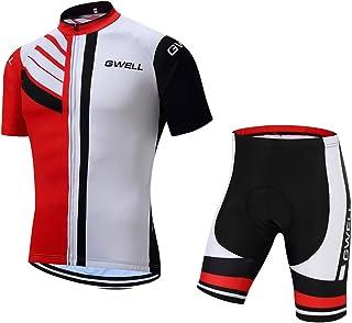 GWELL Herren Radtrikot Set Fahrrad Trikot Kurzarm Langarm  Radhose mit Sitzpolster Radsport-Anzüge