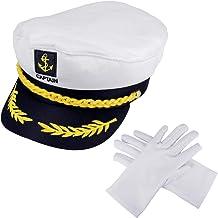 PERFETSELL Kapitänsmütze Verstellbare Marine Mütze Weiß Kapitän Mütze mit einem Paar Handschuhe Faschingskostüm Zubehör für Kinder Damen Herren Junge Karnevalsparty Motto-Party Fasching Party Karneval