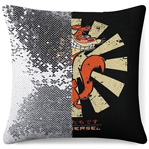 MENGQ I Am Weasel Retro Japanese Sequined Pillowcase, Decorative Flashing Pillowcase, Used for Home Decoration Sofa Throwing Cushion Cover.
