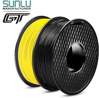 PLA Filament 1.75 mm 3D Printer Filament, 2 kg(4.4 LBS) Spool 3D Printing Filament, Dimensional Accuracy +/- 0.02 mm for 3D Printer and 3D Pen, Black+Yellow