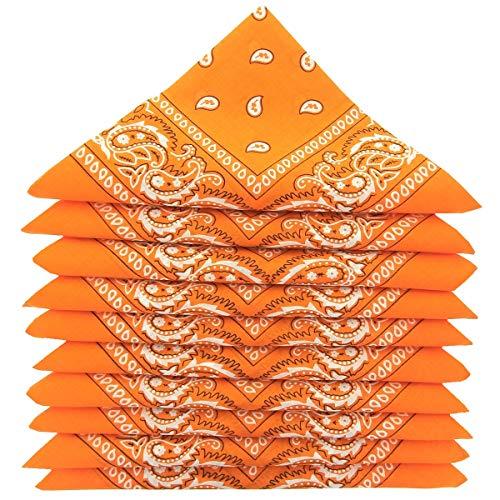 KARL LOVEN Lote de 5 bandanas 100% Algodon Paisley Panuelo Cabeza Cuello Bufanda (Juego de 5, Naranja)