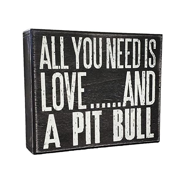 JennyGems All You Need is Love and a Pit Bull (Pitbull) - Wood Pitbull Sign - American Pit Bull Terrier Home Decor - Pitt Decorations and Accessories - Pitbull Mom 1