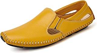Sygjal Men Drive Loafers Casual And Fashion Summer Hollow Breathable Leather Boat Moccasins (Color : Yellow, Size : 47 EU)