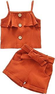 Baby Girl Short Sets Toddler Solid Color Strap Top+Shorts 2PCS Summer Clothes