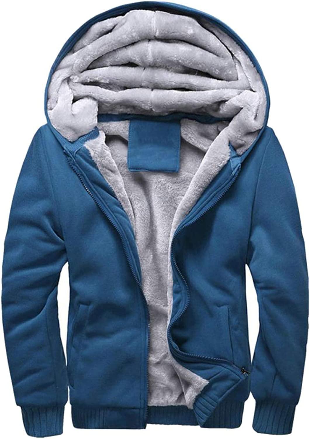 Cromoncent Men Warm Solid color Thick Sweatshirt Long Sleeve Hoodies Fall Winter Cardigan Casual Plush Jacket