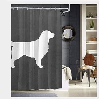 Puloa White Golden Retriever Silhouette Shower Curtains with 12 Hooks Bathroom Curtain 72
