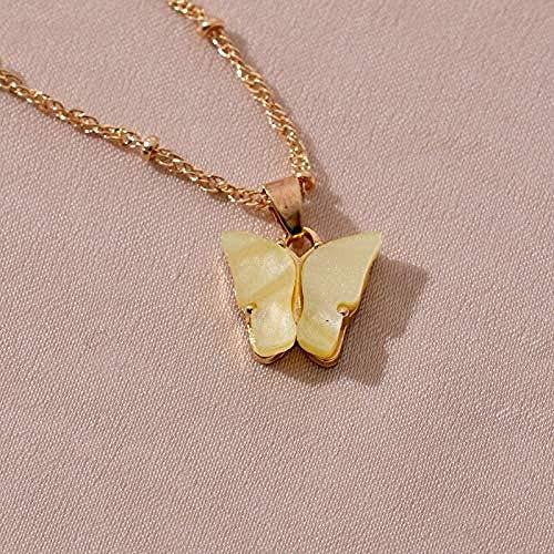 AOAOTOTQ Co.,ltd Collar Mujer Lindo Mariposa Colgante Collar cóctel Estilo Collar Coreano joyería Regalo Amarillo