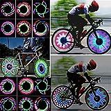 tairong Ruedas Luces Rottay Luces de llanta de Bicicleta a Prueba de Agua/Luces de radios con 32-LED y 32 Piezas Cambios de Patrones para llanta de Rueda MTB