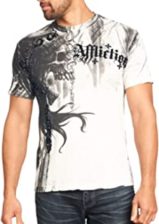 Affliction Mens T-Shirt Indian Chief Tattoo White Motorcycle Biker MMA UFC