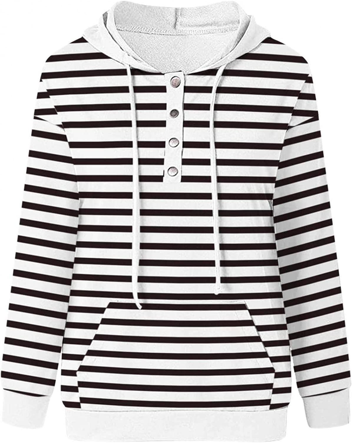 felwors Hoodies for Women, Womens Casual Pullover Hoodies Button Down Long Sleeve Color Block Sweatshirts with Pockets