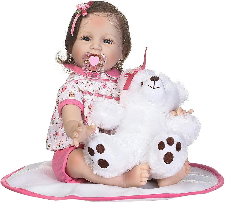 Xurgm blueee Augen Reborn Baby Puppe, Triplespark Lebensecht Neugeborenen Puppe Baby Silikon Vinyl Weiches 55 cm   22  Handgemachtes für Kinder Geburtstagsgeschenk