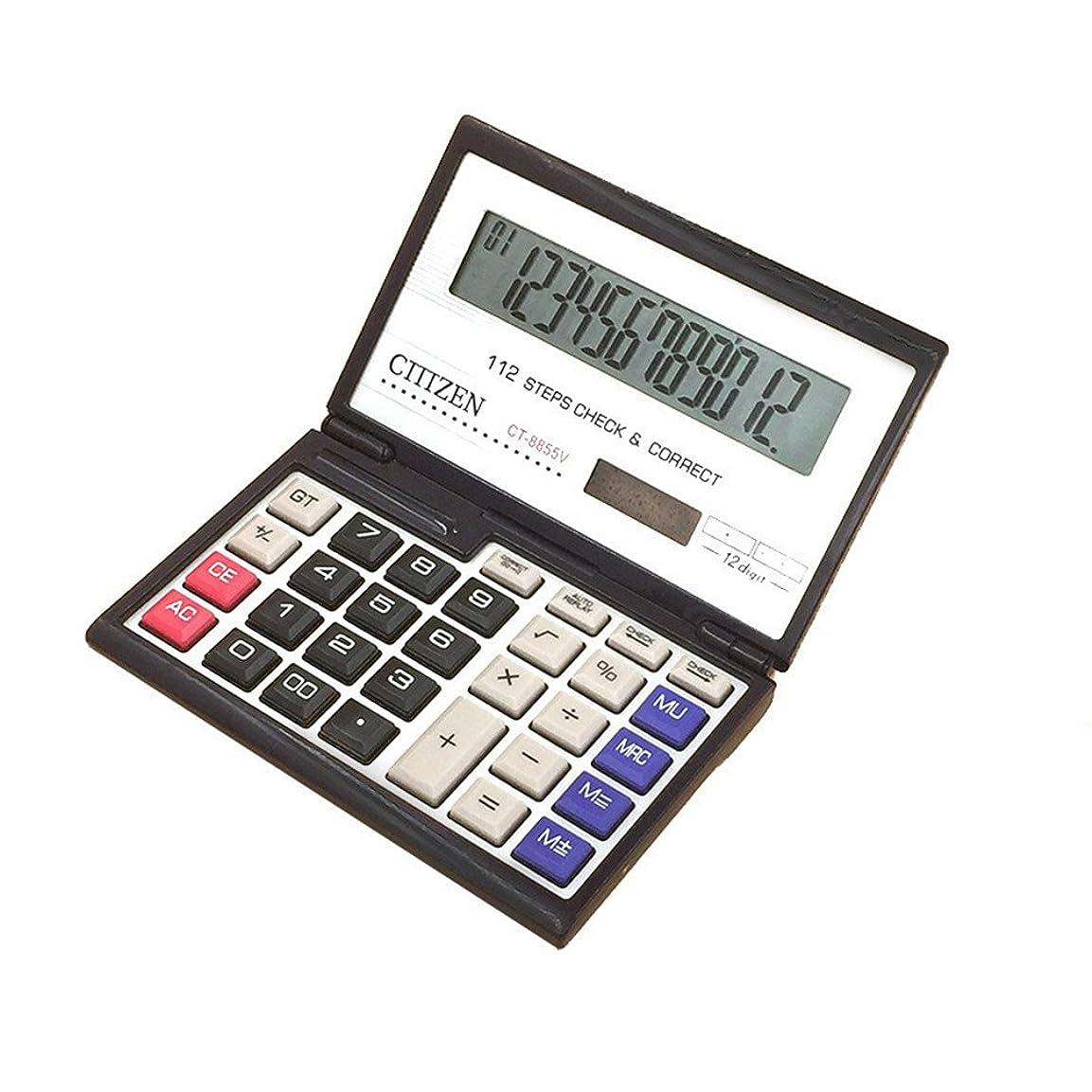 スキャンダラスのヒープ癒すstudyset金融電卓12桁ソーラーバッテリーポータブル折りたたみ式デスクトップ電卓Office Supplies