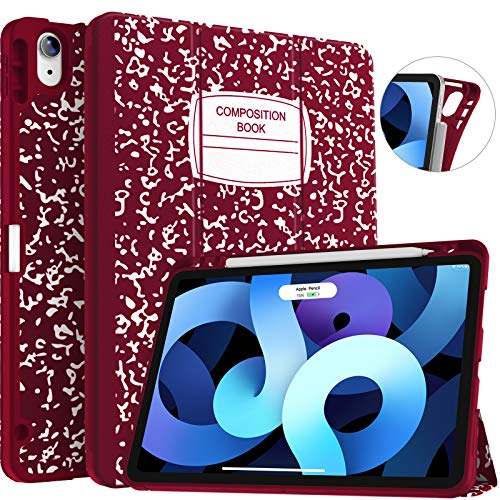 Soke iPad Air 4 Case 10.9 Inch 2020 / iPad Pro 11 2018 with Pencil Holder - [Full Body Protection + Apple Pencil Charge+ Auto Sleep/Wake], Soft TPU Back Cover for 2020 New iPad Air 4th Gen,Book Wine