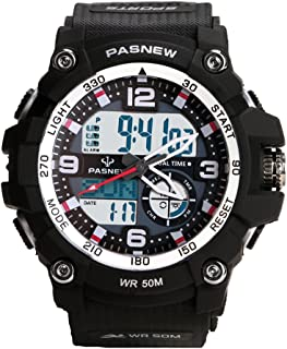 Teenagers Sport Watch   Analog Quartz & Digital Display   Dual Time Zone   Water Resistant   EL Backlight   Stopwatch   3 Alarms   Chime   PU Strap for Boys Girls