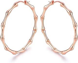 Barzel Gold, Rose Gold, or White Gold Plated Bamboo Hoop Earrings