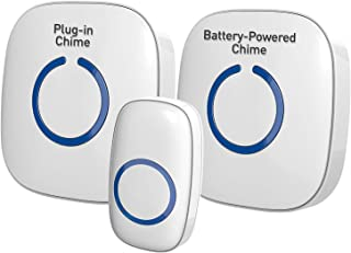 SadoTech Model CXRi Wireless Doorbell - with 1 Remote Button + 1 Plugin Receiver + 1 Battery Operated Receiver, Over 1000-feet Range, 52 USA Chimes, Adjustable Volume and LED Flash, White