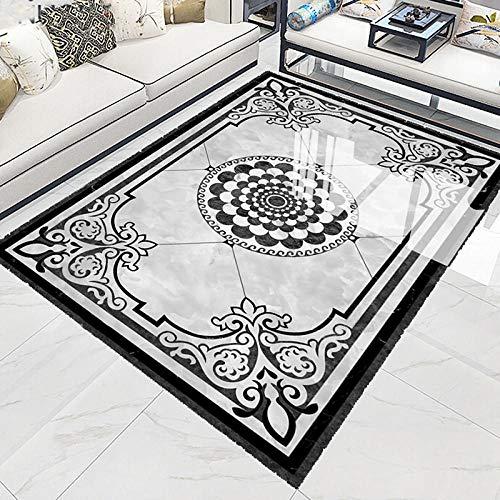 de suelo 3d pegatina pared de vinilo autoadhesivo Adhesivo impermeable 3D pegatina de suelo estilo europeo negro blanco gris alfombra sala de estar dormitorio suelo Mural papel tapiz-200 * 140 cm