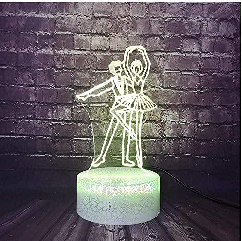 Kawaii lámpara de cumpleaños salón baile LED noche luz 3D ballet lámpara de mesa remoto ilusión decoración luminaria niños dormitorio fiesta lava atmósfera luz