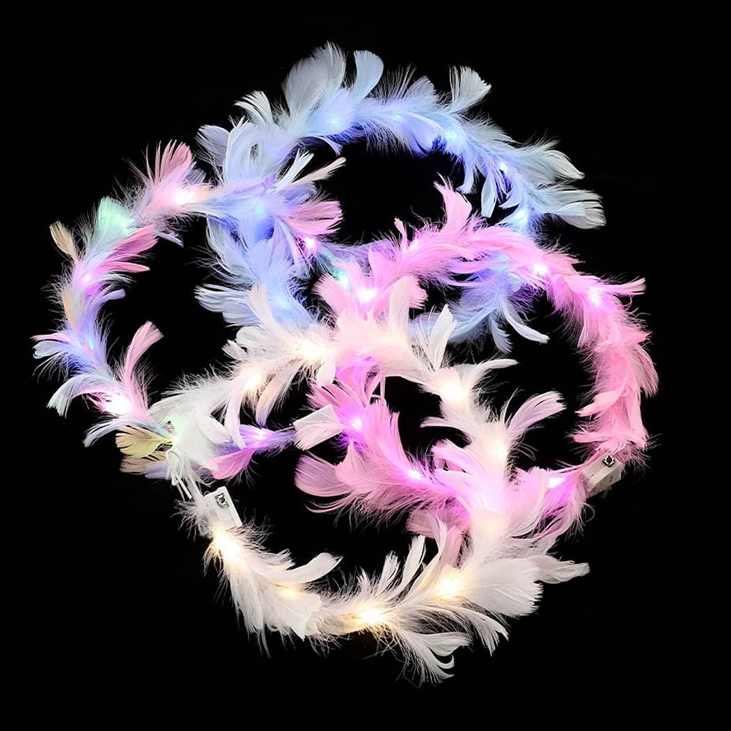 Ludress LED Luminous Headband Light Up Feather Gailand Angel Crown Wreath Headbands Halloween Festival Glowing Hair Accessories Led Headdress for Women(pack of 4 )