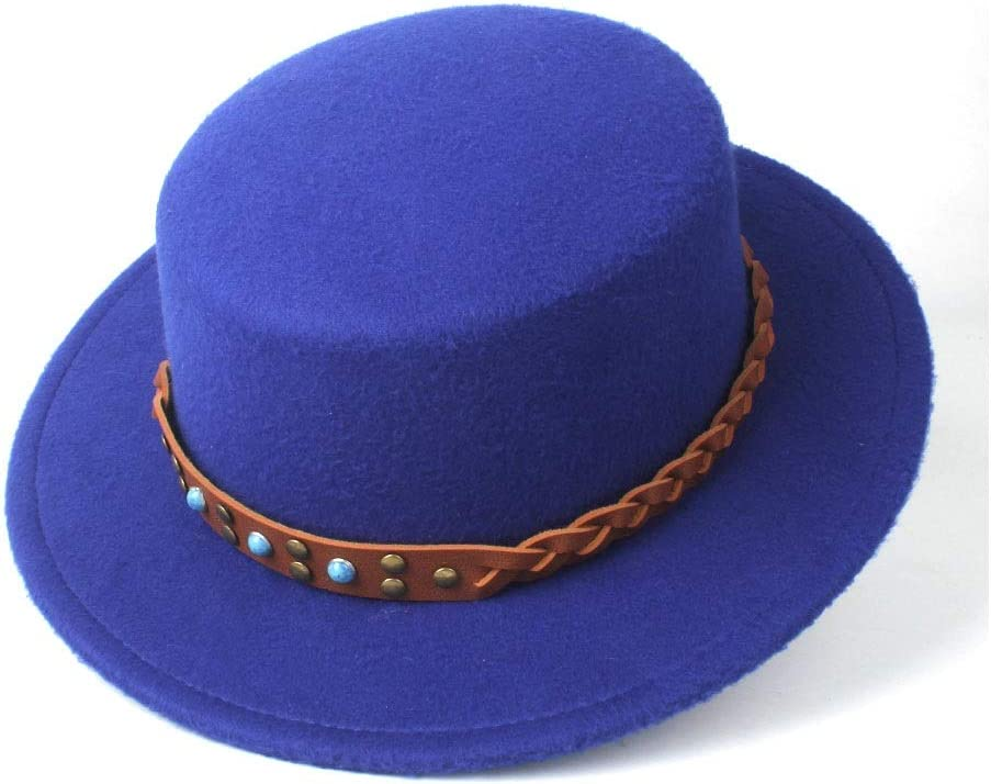 LIRRUI Women Flat Top Hat Fedora Hat for Gentleman Dad Church Hat for Lady Fascinator Casual Wild Style Size 56-58CM (Color : E Blue, Size : 56-58)