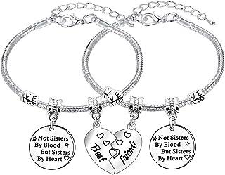 2 braccialetti con ciondoli, regolabili, per migliore amica, per donne e ragazze, regalo dell'amicizia