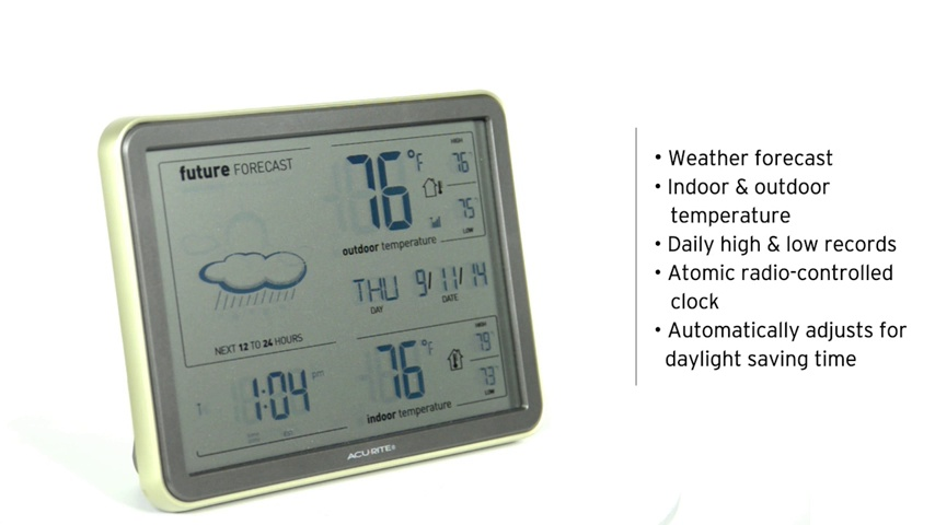 AcuRite 75077A1 Digital Weather Station with Forecast Temperature Atomic Clock