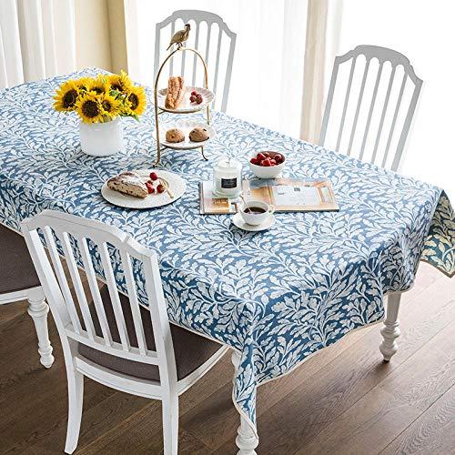 YuHengJin Mantel de Decorativo a Prueba de Polvo Idílico Algodón y Lino Moderno Uso para La Mesa de Comedor Banquete Sirve Azul 140×190cm