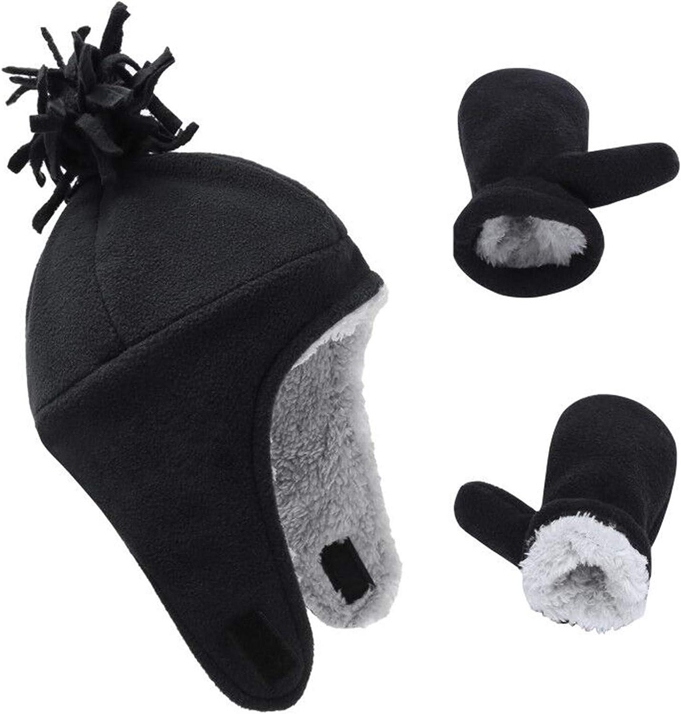 Kids Winter Hat Fleece Hat Children Boys Girls Hat and Glove Set Toddler Warm Earflap Caps Knit Beanie Cap